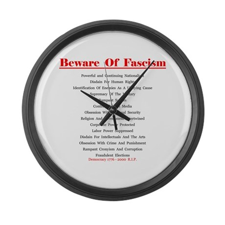 Beware of Fascism Gifts Large Wall Clock