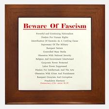 Beware of Fascism Gifts Framed Tile