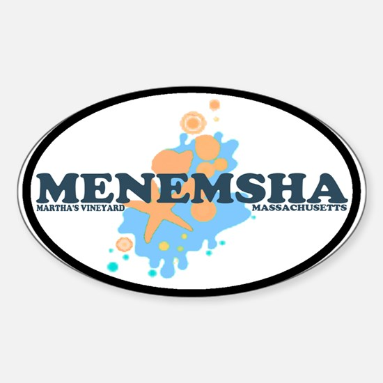 Menemsha MA - Oval Design. Sticker (Oval)