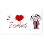 Zombie Nerd. (I HEART ZOMBIES) Sticker (Rectangle)