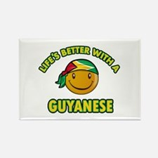 Life's better with a Guyanese Rectangle Magnet