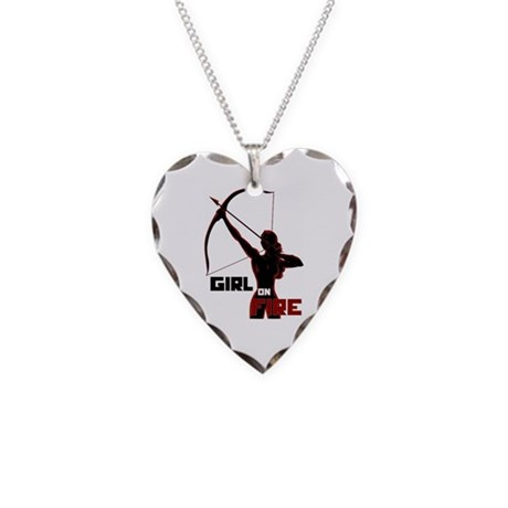 Katniss Girl on Fire Necklace Heart Charm