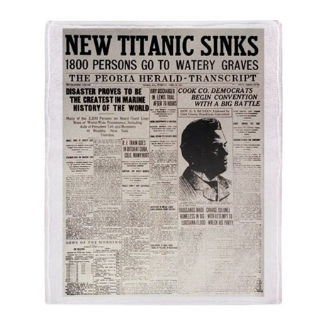 New Titanic Sinks Throw Blanket