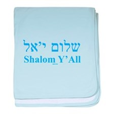 Shalom Y'All English Hebrew baby blanket