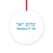 Shalom Y'All English Hebrew Ornament (Round)