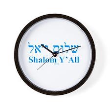 Shalom Y'All English Hebrew Wall Clock