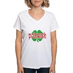 Polirish Clover Women's V-Neck T-Shirt