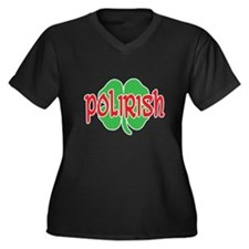 Polirish Clover Women's Plus Size V-Neck Dark T-Sh