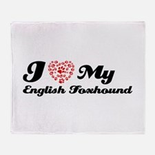 I love My English Foxhound Throw Blanket