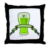 St Patrick's Day Beer Banner Throw Pillow