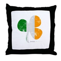 Vintage Clover Flag Throw Pillow