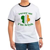 Fight Me Im Irish Clover Flag Ringer T