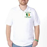 Fight Me Im Irish Clover Flag Golf Shirt