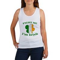Fight Me Im Irish Clover Flag Women's Tank Top