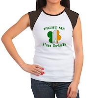 Fight Me Im Irish Clover Flag Women's Cap Sleeve T