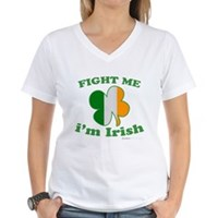 Fight Me Im Irish Clover Flag Women's V-Neck T-Shi