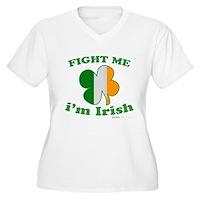 Fight Me Im Irish Clover Flag Women's Plus Size V-