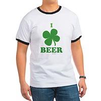 I Love Beer Clover Ringer T