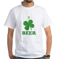 I Love Beer Clover White T-Shirt