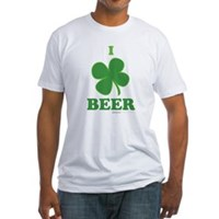 I Love Beer Clover Fitted T-Shirt