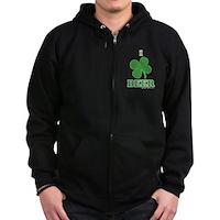 I Love Beer Clover Zip Hoodie (dark)