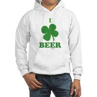 I Love Beer Clover Hooded Sweatshirt