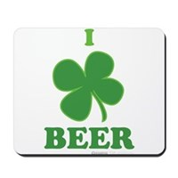 I Love Beer Clover Mousepad