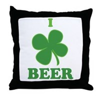 I Love Beer Clover Throw Pillow