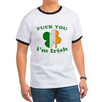F You Im Irish Clover Flag Ringer T