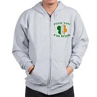 F You Im Irish Clover Flag Zip Hoodie