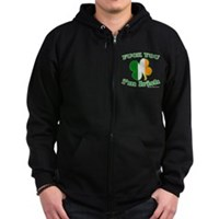 F You Im Irish Clover Flag Zip Hoodie (dark)