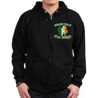 F You Im Irish Clover Flag Zip Hoodie (dark)