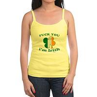F You Im Irish Clover Flag Jr. Spaghetti Tank