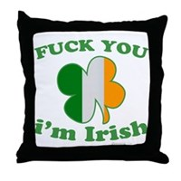 F You Im Irish Clover Flag Throw Pillow