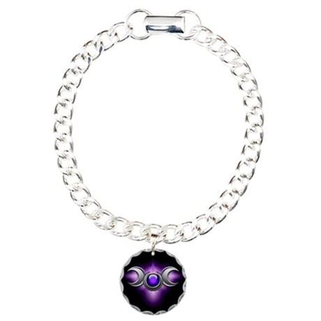 Purple Pagan Triple Goddess Charm Bracelet, One Ch