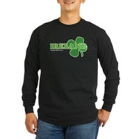 Ireland Lucky Clover Long Sleeve Dark T-Shirt