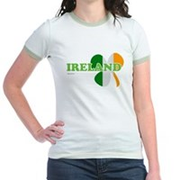 Ireland Clover Flag Jr. Ringer T-Shirt