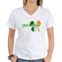 Ireland Clover Flag Women's V-Neck T-Shirt