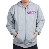 Everyone Loves An Irish Girl Pink Zip Hoodie