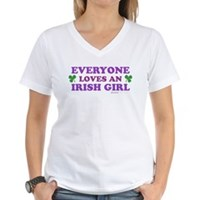 Everyone Loves An Irish Girl Pink Women's V-Neck T
