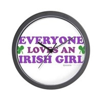 Everyone Loves An Irish Girl Pink Wall Clock