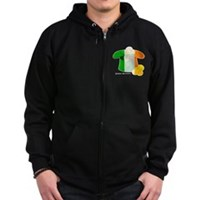 Irish Hat Flag Colors Zip Hoodie (dark)