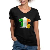 Irish Hat Flag Colors Women's V-Neck Dark T-Shirt