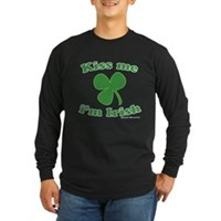 Kiss Me Im Irish Clover Long Sleeve Dark T-Shirt