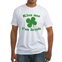 Kiss Me Im Irish Lucky Clover Fitted T-Shirt