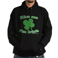 Kiss Me Im Irish Lucky Clover Hoodie (dark)