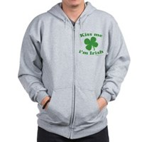 Kiss Me Im Irish Lucky Clover Zip Hoodie