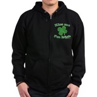 Kiss Me Im Irish Lucky Clover Zip Hoodie (dark)
