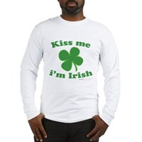 Kiss Me Im Irish Lucky Clover Long Sleeve T-Shirt