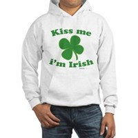 Kiss Me Im Irish Lucky Clover Hooded Sweatshirt